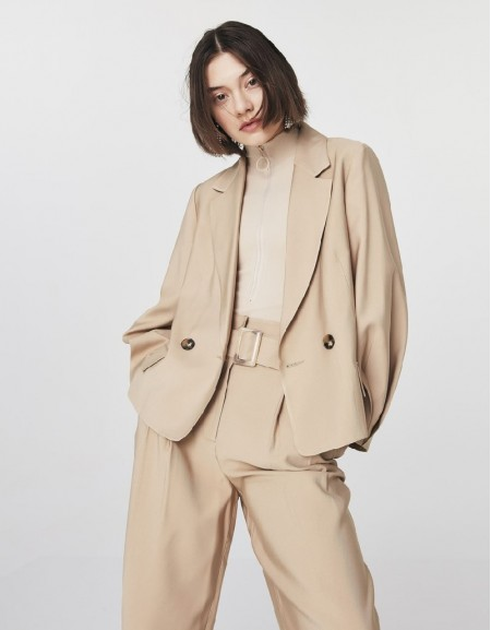 Natural Blazer With Sleeve Detail