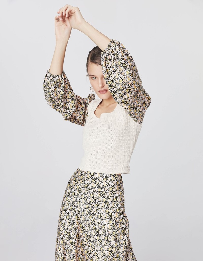 Beige Knitwear Mix Blouse