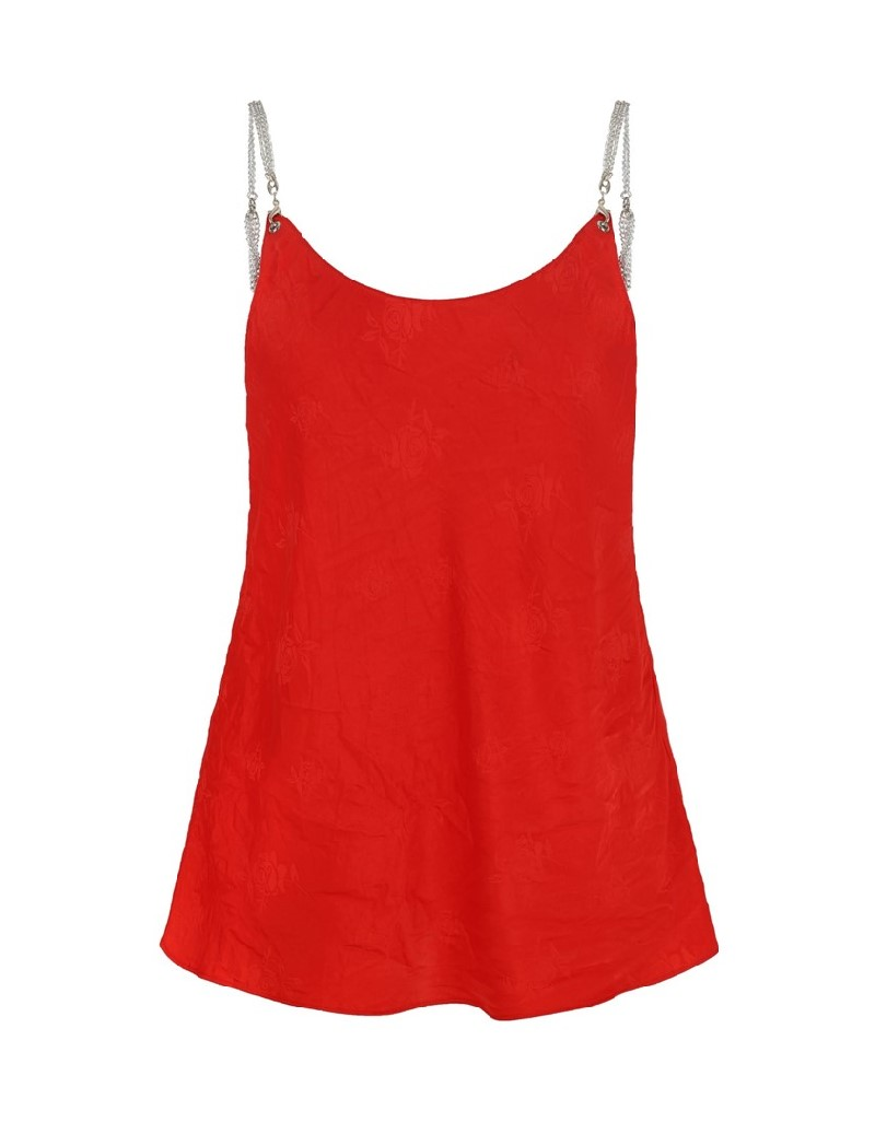Red Chain Strap Blouse
