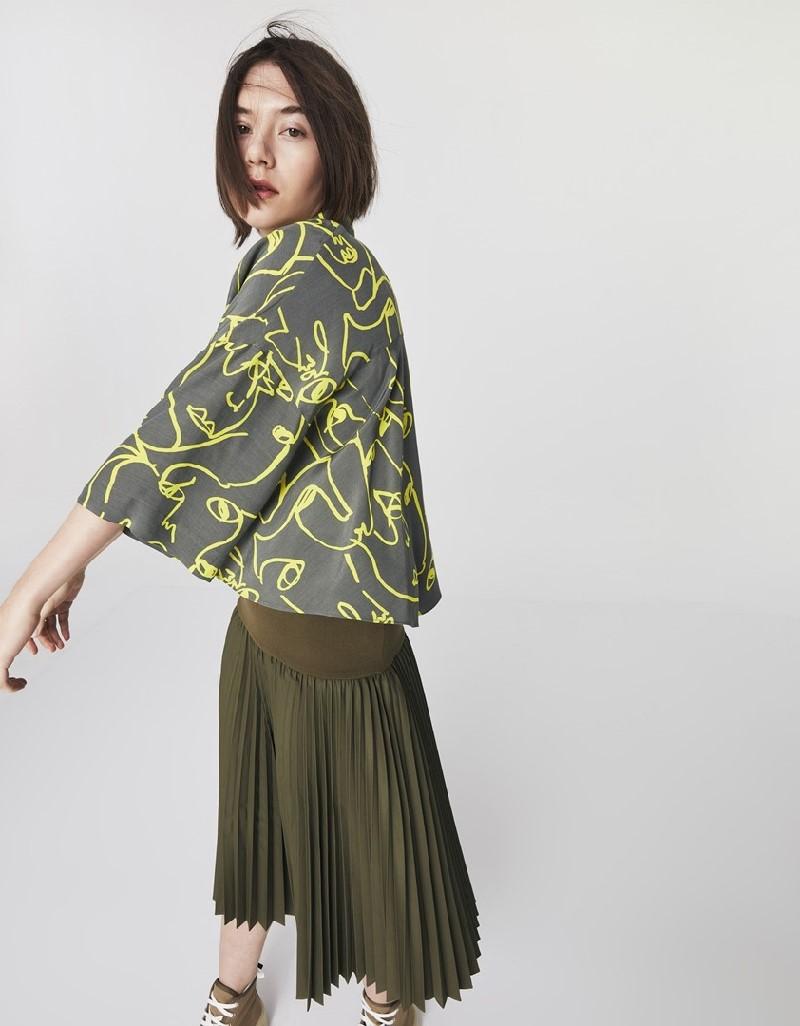 Khaki Printed Crop Shirt