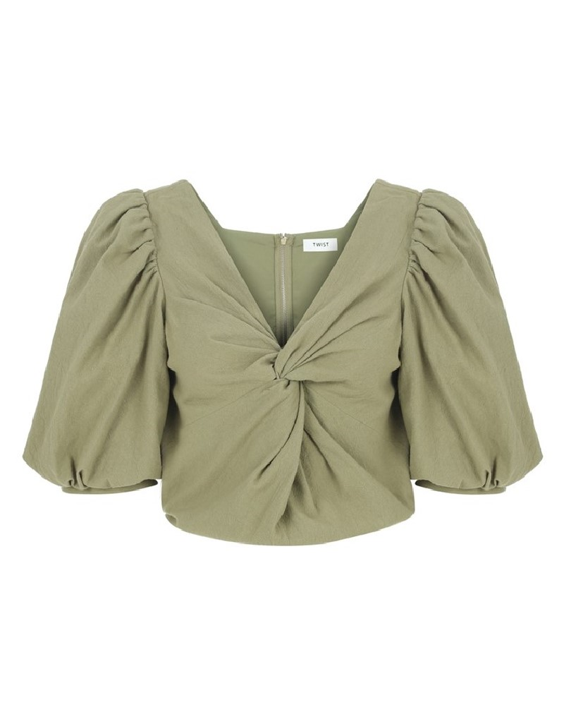 Khaki Cropped Blouse With Knot Detail