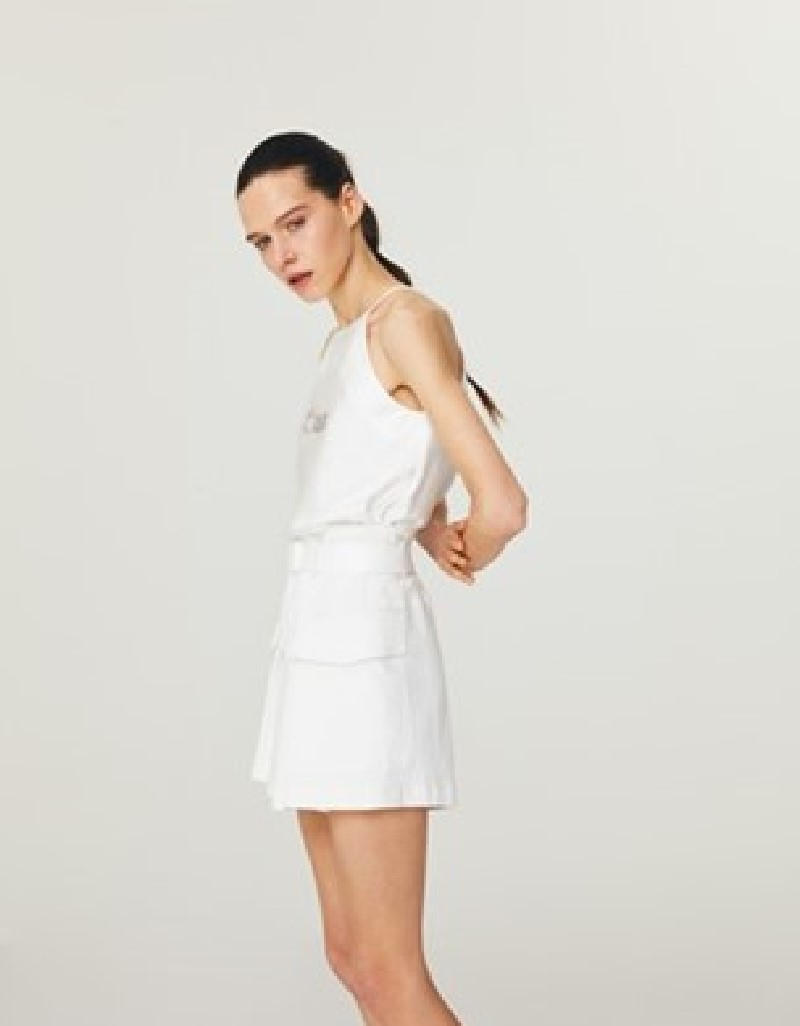 Off White Thin-Strapped Halter Blouse