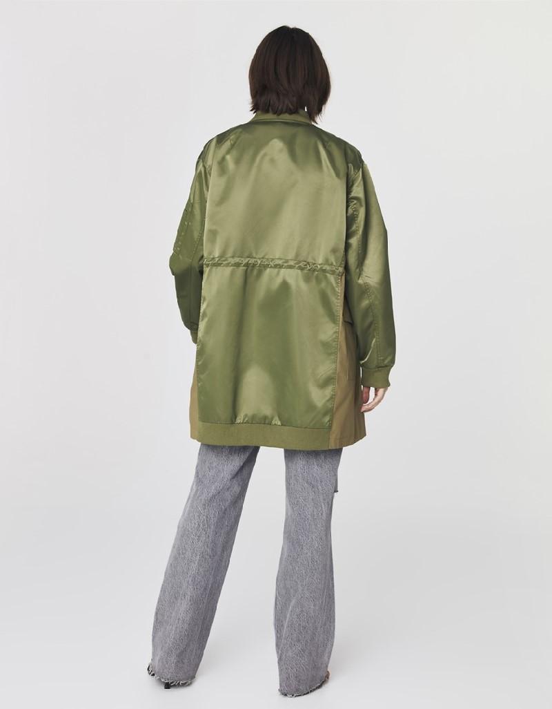 Khaki Oversized Bomber Jacket