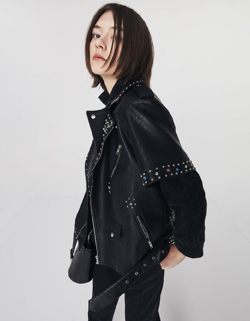 Black Trok Print Biker Jacket