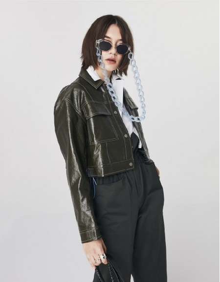 Green Patent Leather Cropped Jacket