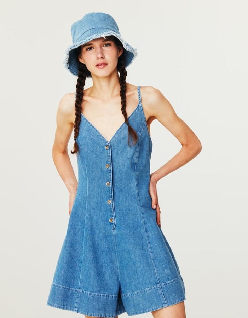 Blue Mini Jean Jumpsuit