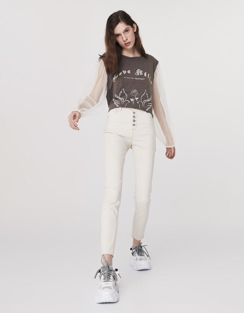 Beige High Rise Skinny Jeans