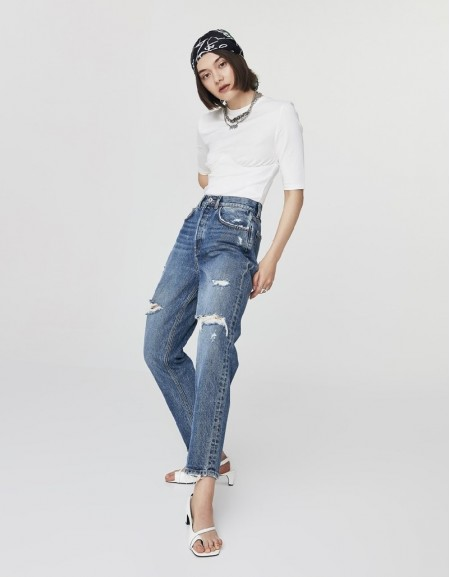 Indigo High Rise Cropped Slim Fit Jeans