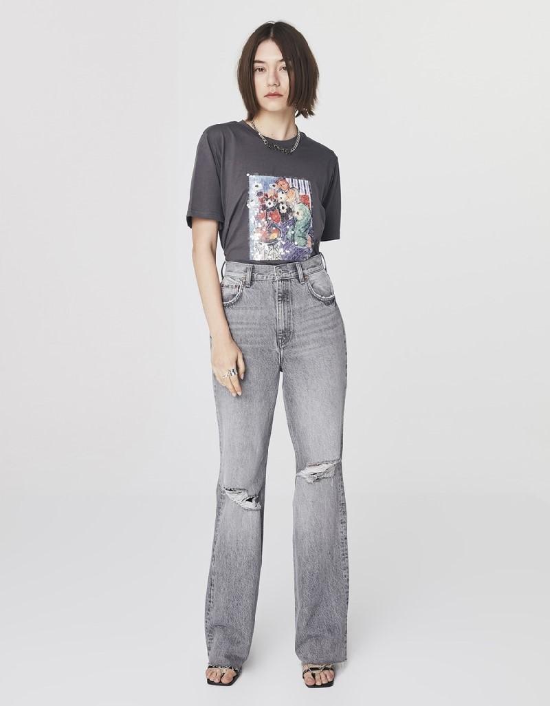 Grey Super High Rise Full Length Jeans