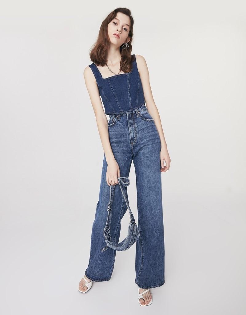 Indigo Super High Rise Wide Leg Jeans
