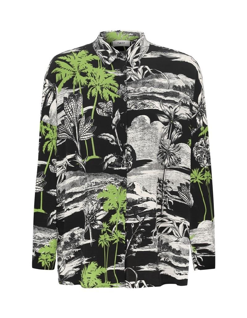 Black Oversized Print Shirt