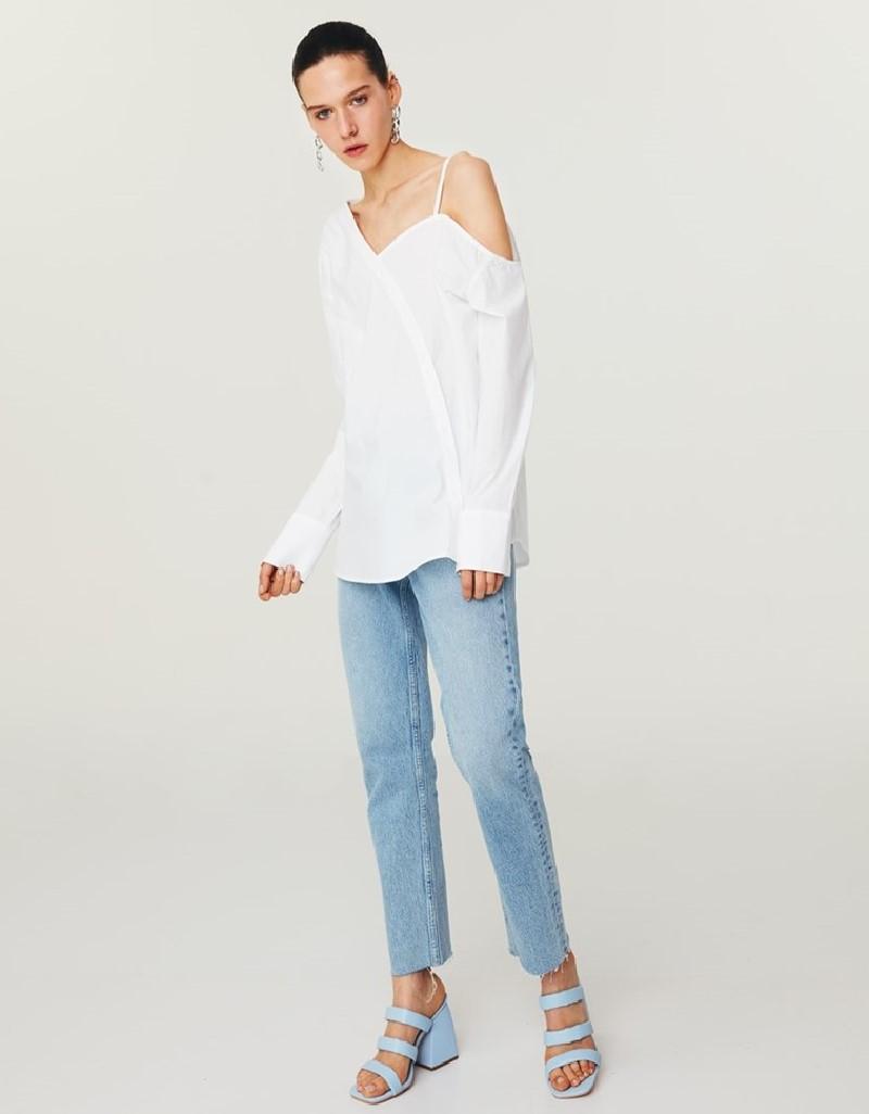 White Asymmetrical Poplin Shirt
