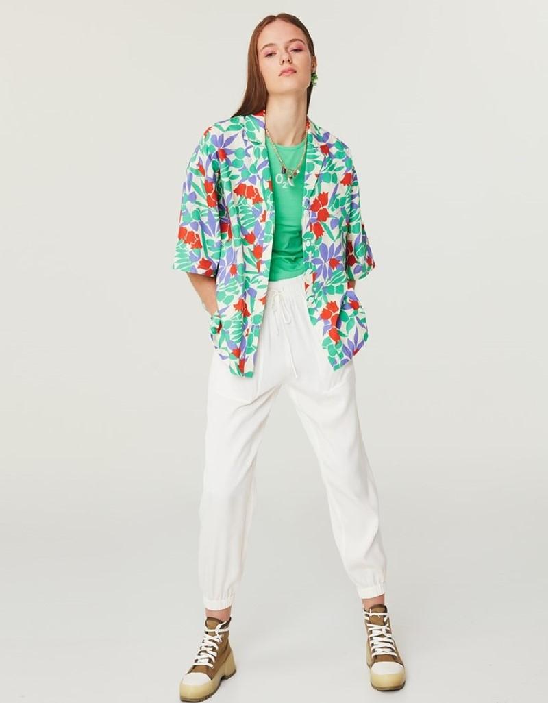 Cream Floral Pattern Shirt