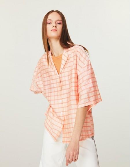 Pink Plaid Pattern Shirt