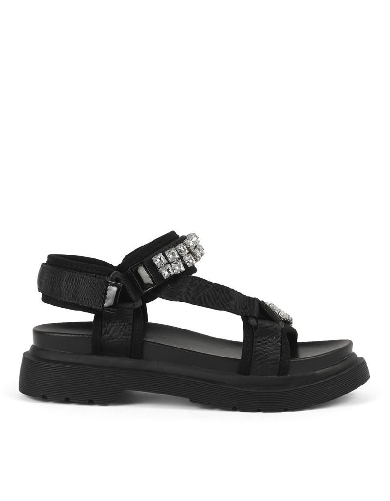 Black Crystal Stone Buckle Sandals
