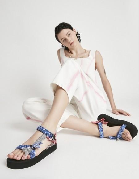 Blue Fabric Mix Sandals