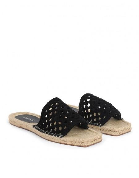 Black Mesh Knitted Slippers