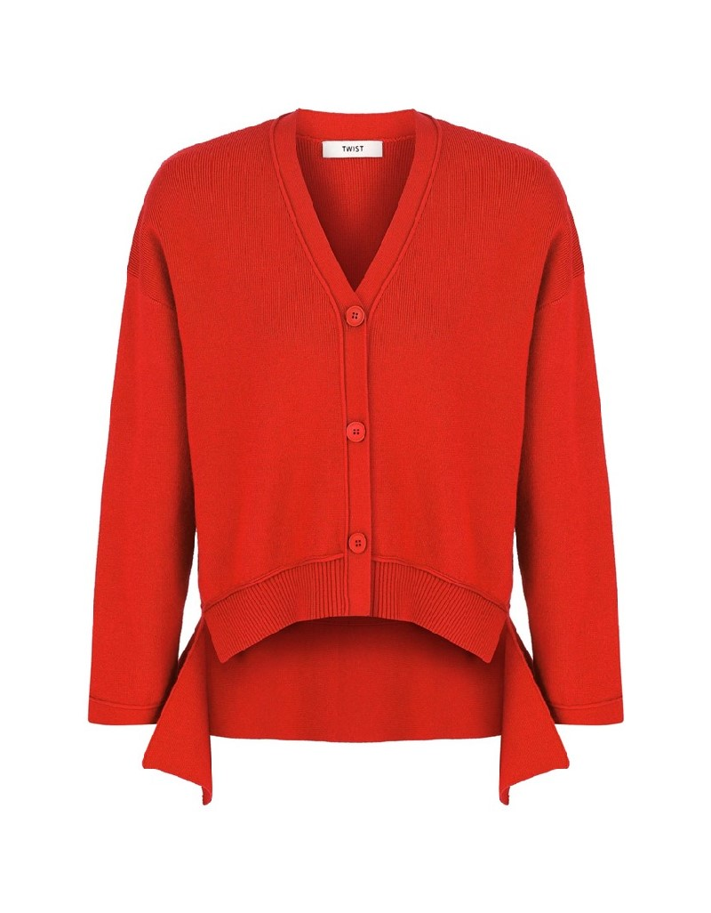 Red Back Detail Cardigan