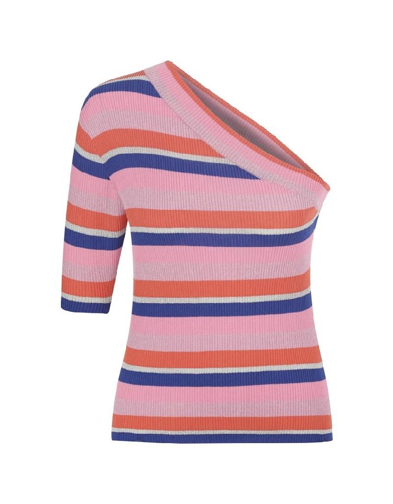 Salmon Single Sleeve Knitwear Blouse