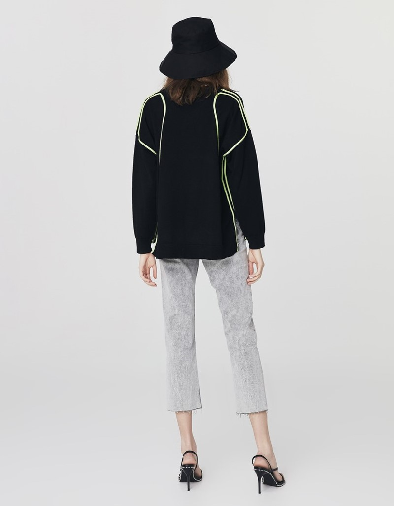 Black Neon Piping Sweatshirt