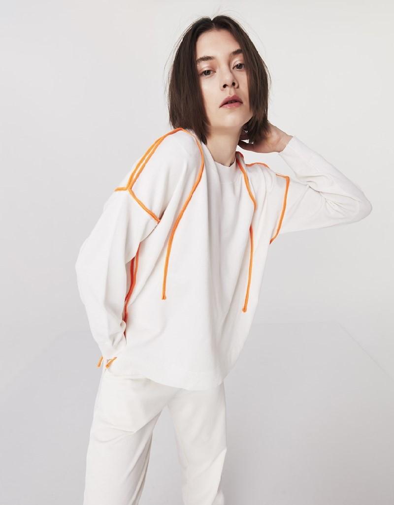 Ecru Neon Piping Sweatshirt