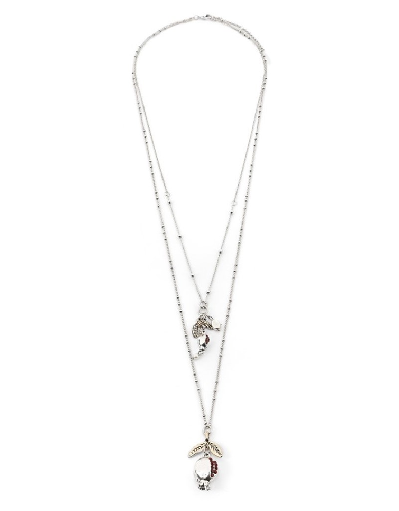 Silver Chain Necklace With Pomegranate Figurines