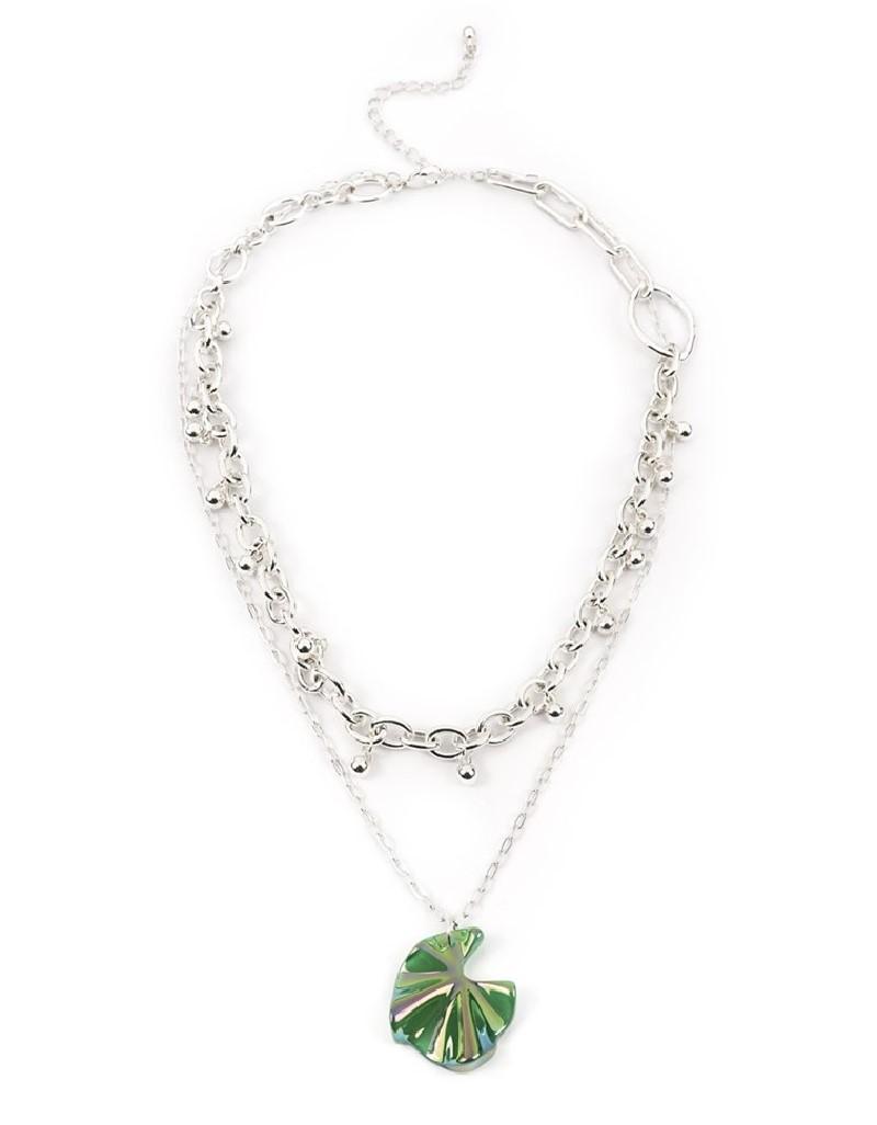 Silver Leaf Pendant Chain Necklace