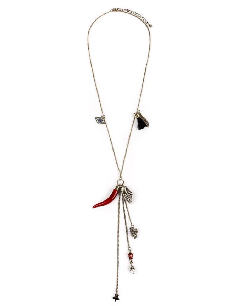 Gold Figure Tassel Chain Necklace