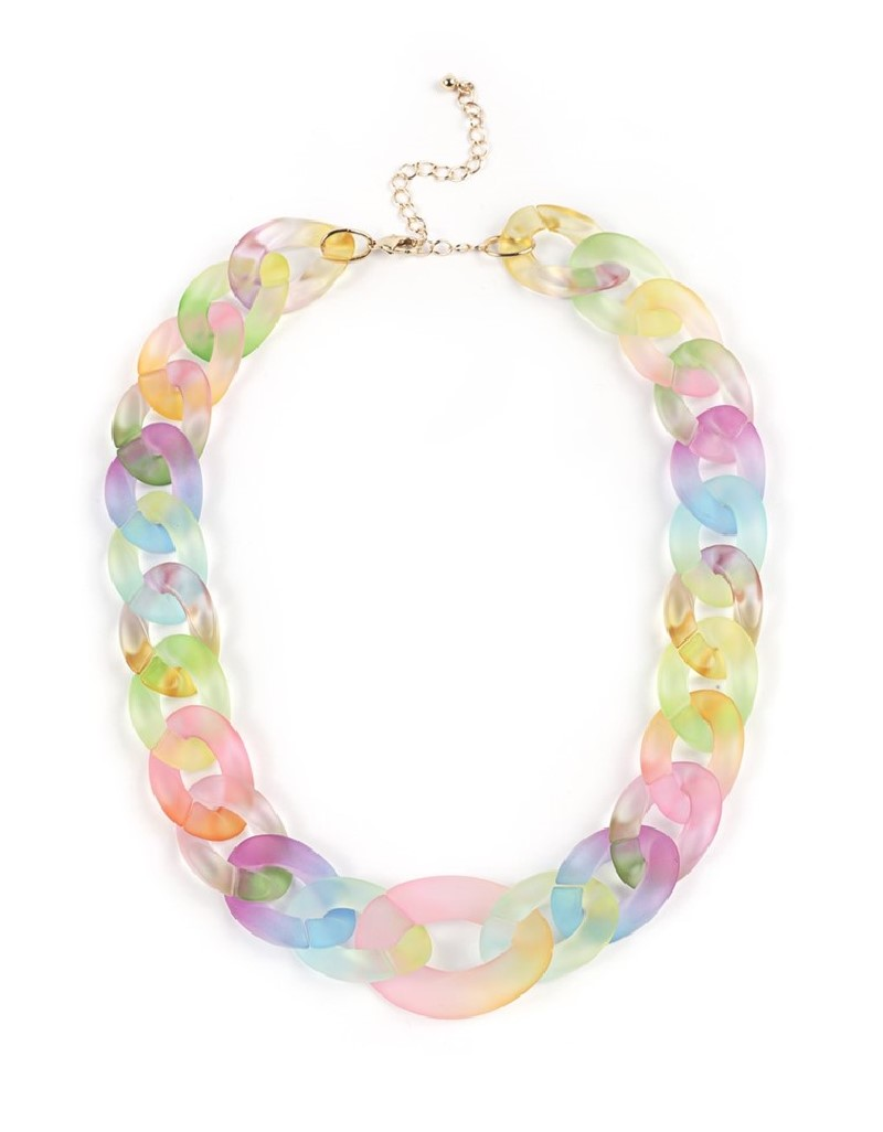 Rainbow Color Transition Chain Necklace