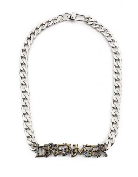 Silver Chain Necklace With Slogan Appliqué