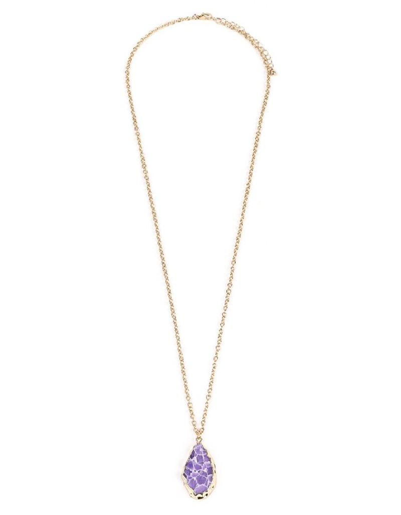 Gold Natural Stone Pendant Necklace