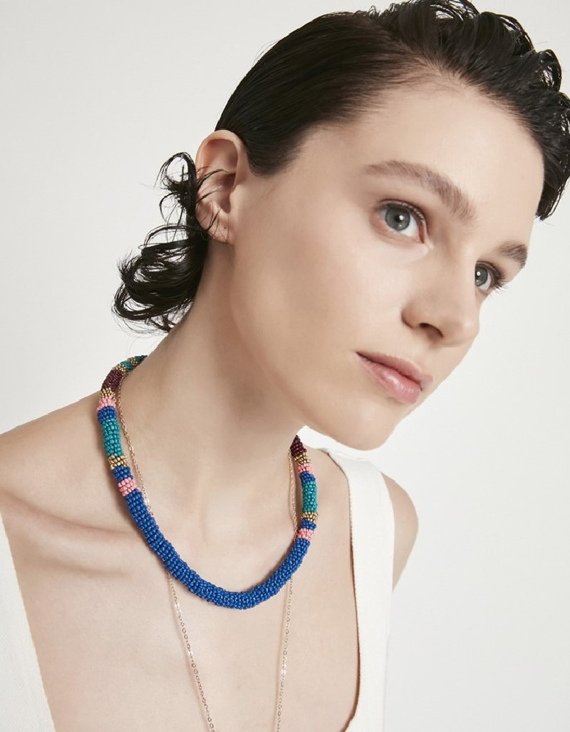 Rainbow Colorful Bead Knitted Collar Necklace