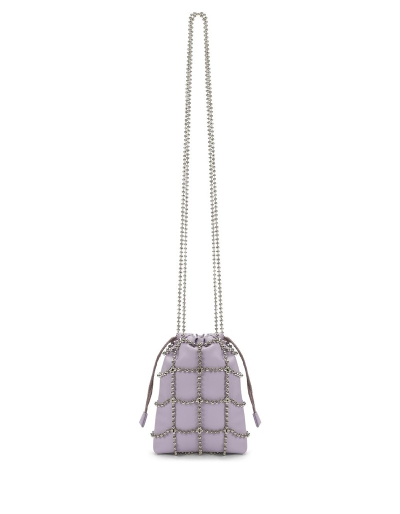 Lilac Metal Bead Ribbon Bag