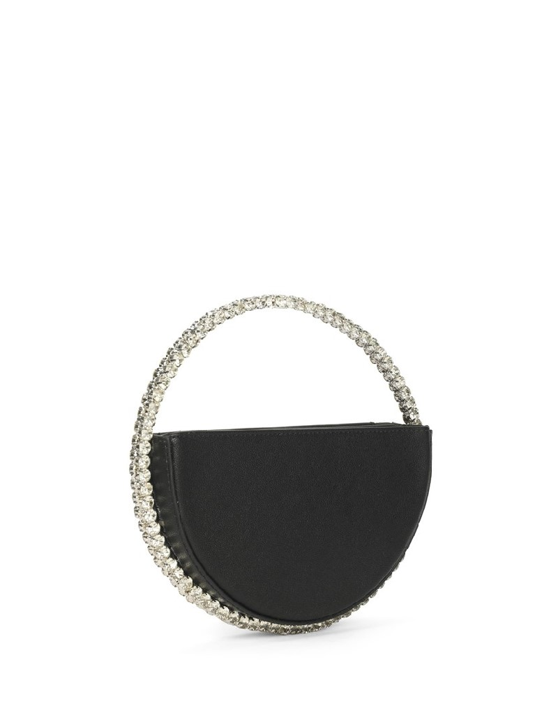 Black Clutch With Row Stone Ring Holder