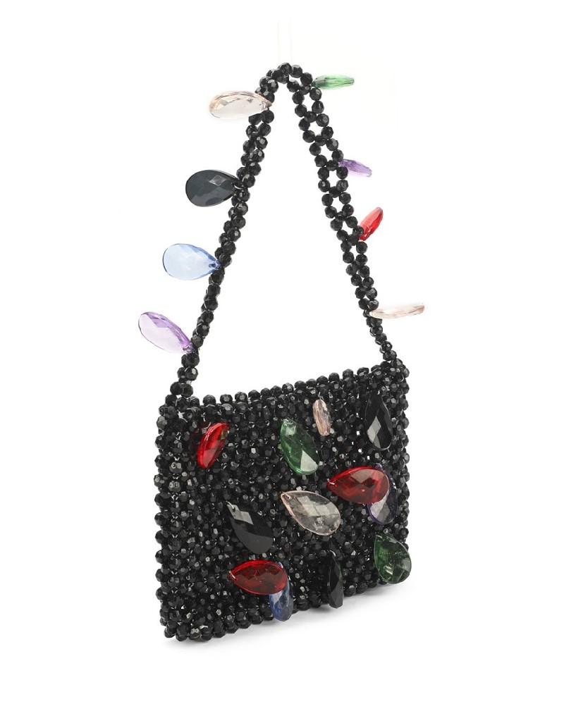 Black Bead Knit Sleeve Bag
