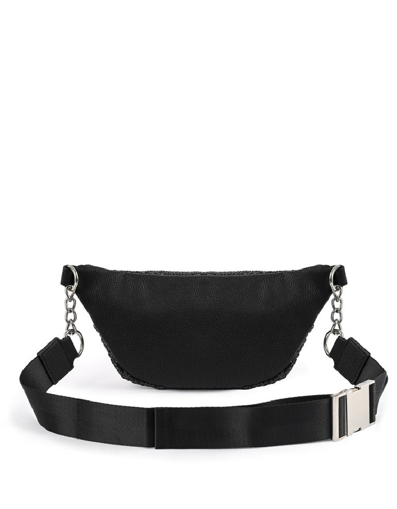 Black Straw Knitted Belt Bag