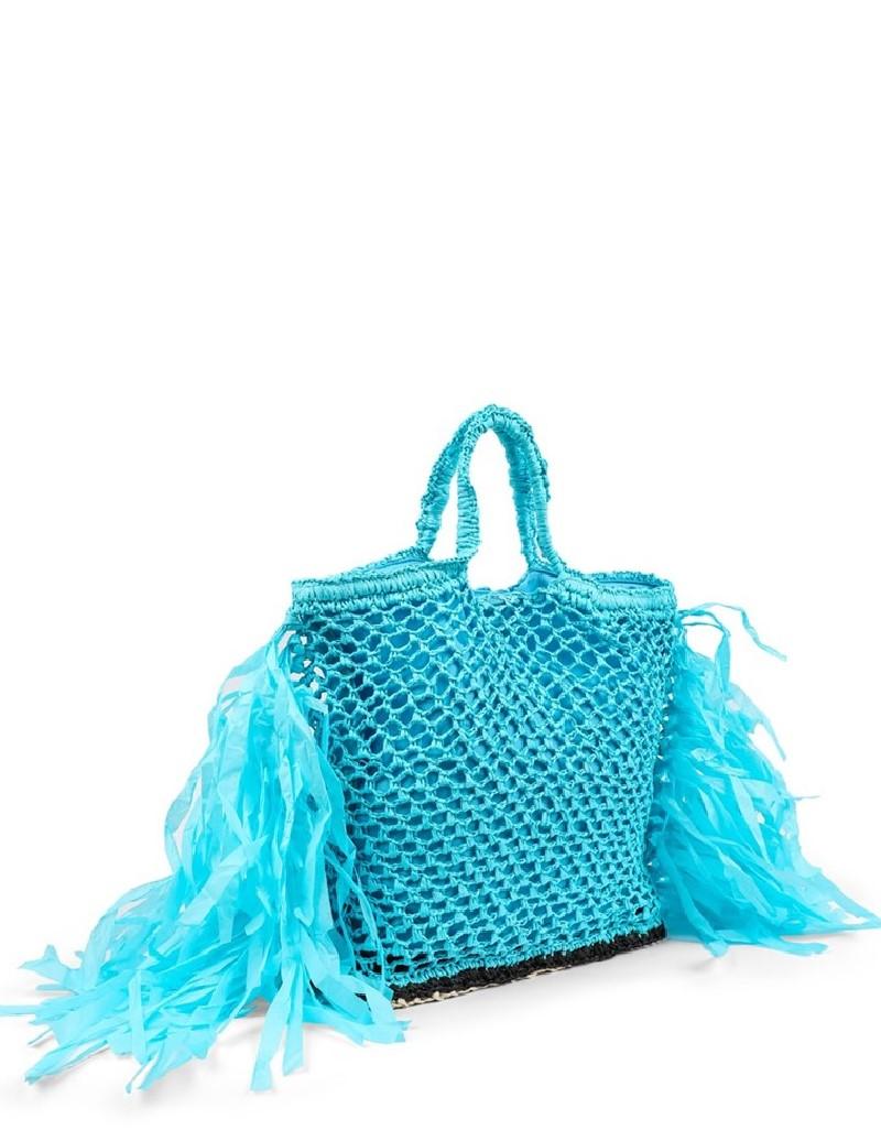 Blue Tasseled Straw Knitted Bag