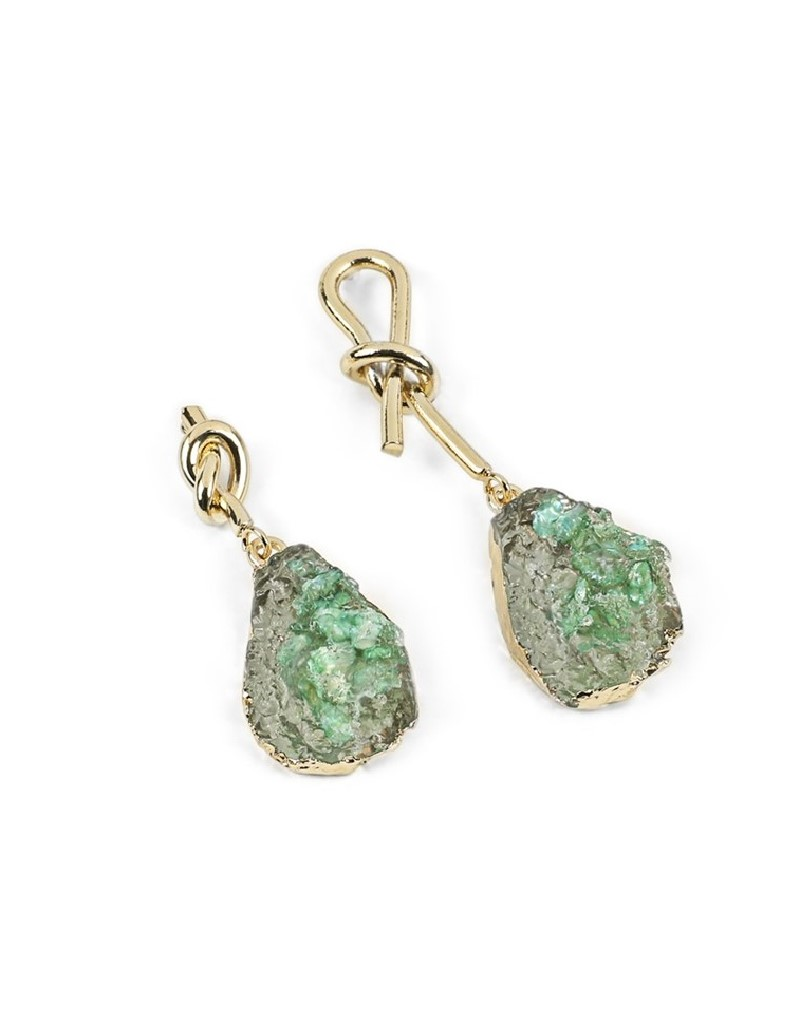 Green Natural Stone Dangly Earrings