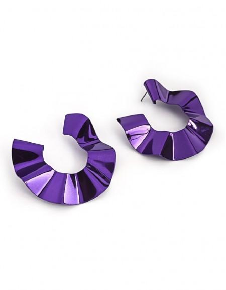 Purple Fluid Form Hoop Earrings
