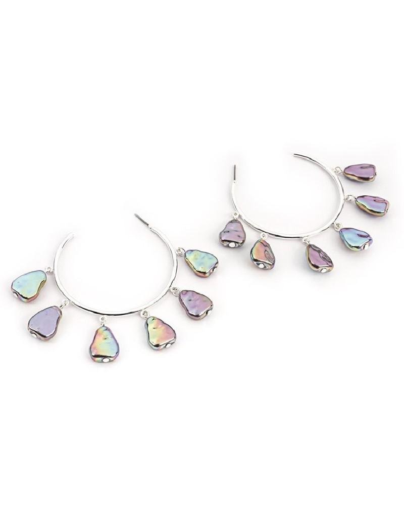 Silver Bead String Hoop Earrings