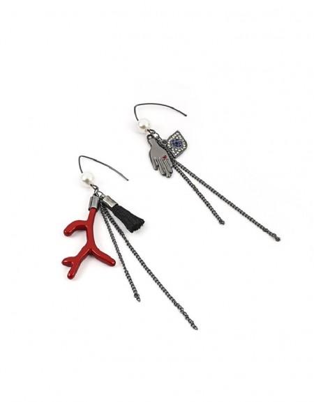 Nickel Figure Tassel Earrings