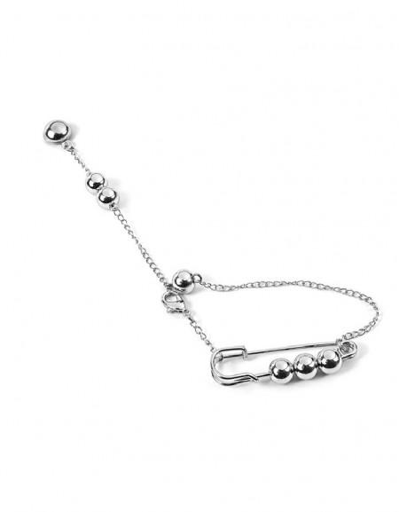 Silver Metal Bead Stud Earrings