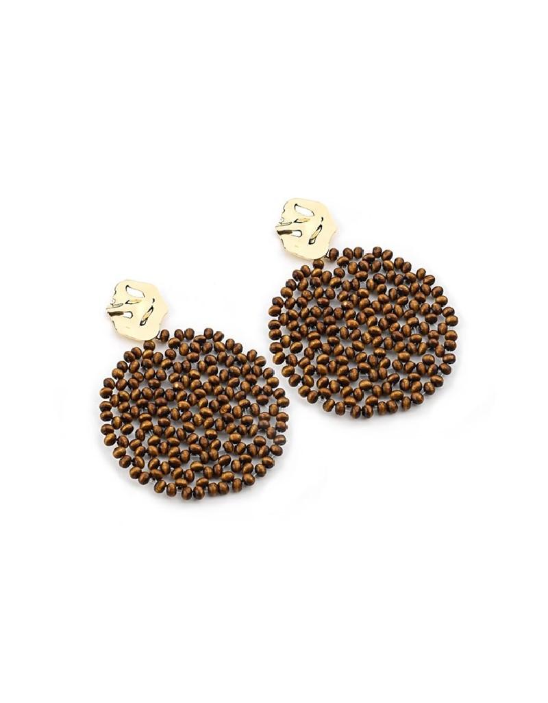 Brown Wooden Bead Knitted Earrings