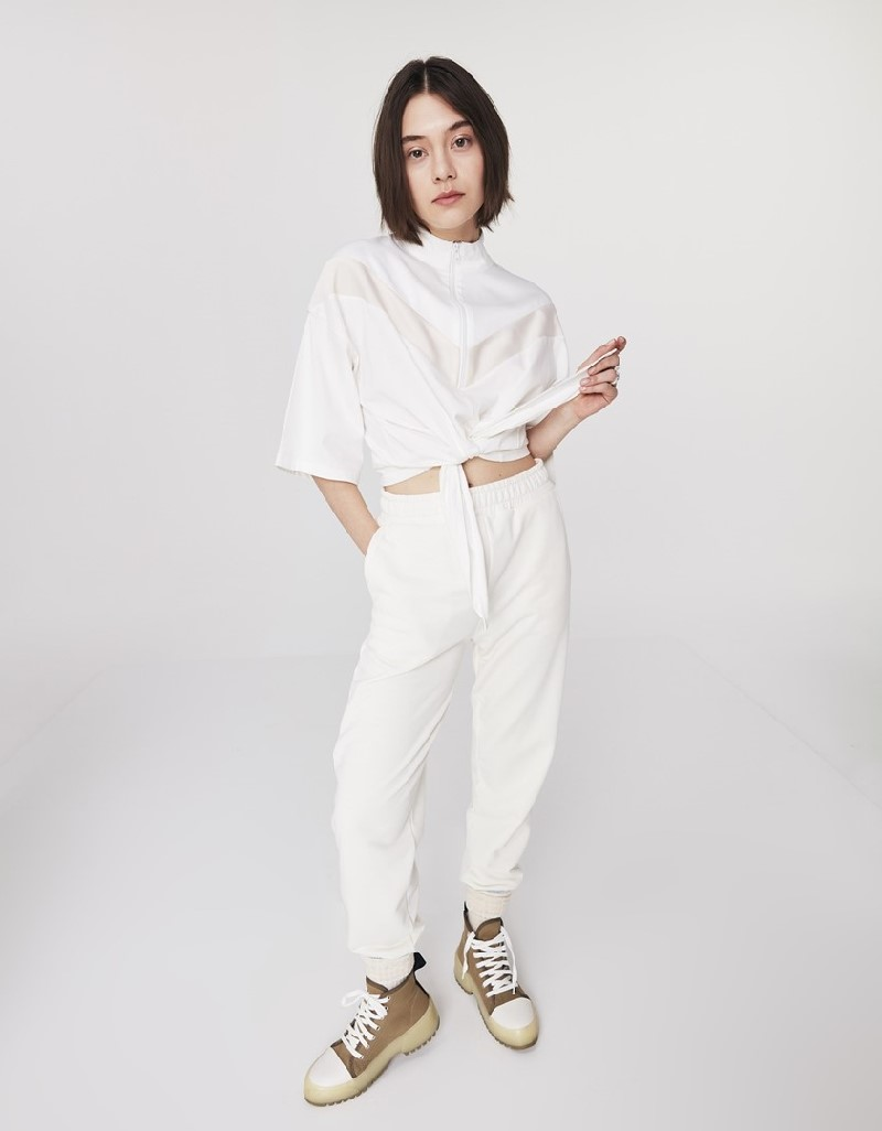 Off White T-Shirt With A Fabric Mix