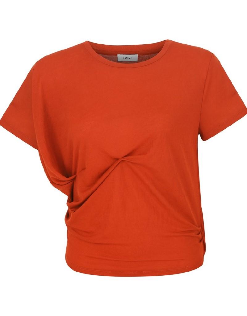 Brick Cropped Draped T-Shirt