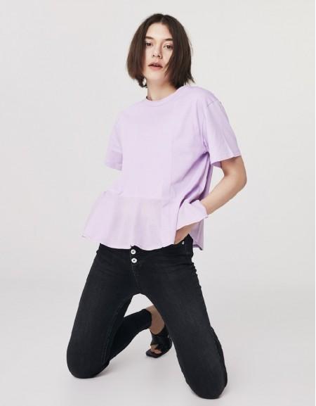 Lilac Textured Mixed T-Shirt