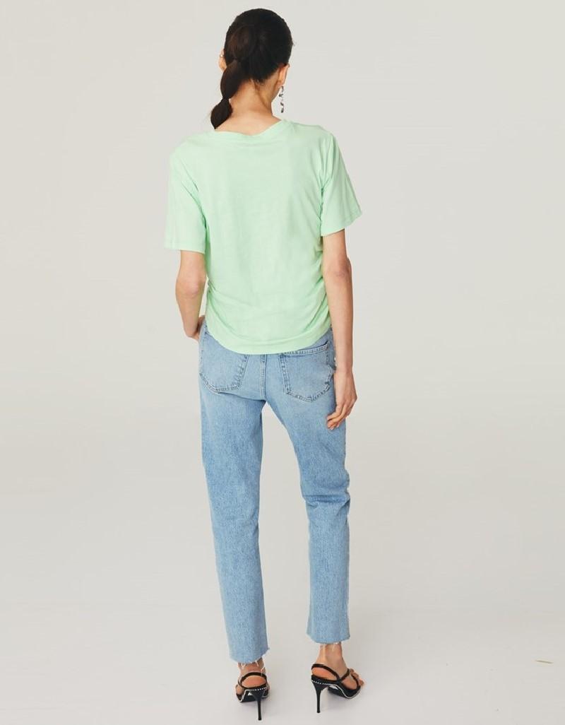 Green Gathered Crop T-Shirt