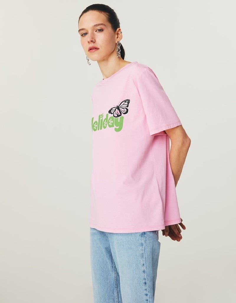 Lilac Printed T-Shirt With Graphic Print