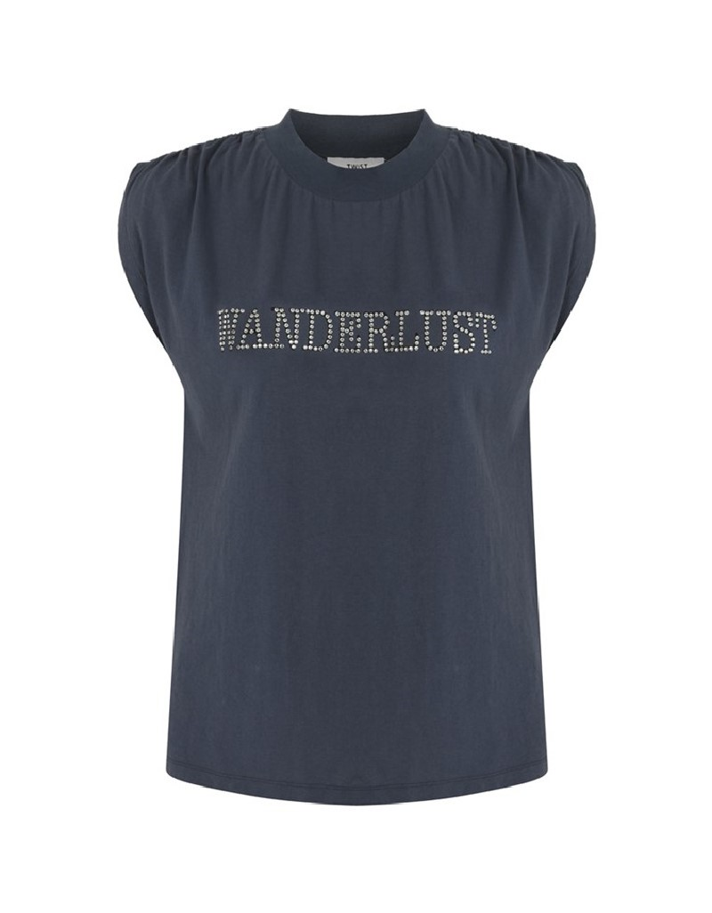 Blue Stone Printed T-Shirt