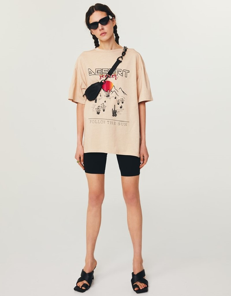 Natural Graphic Print T-Shirt Dress